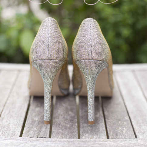 Cheshire prom photography of a pair of silver sparkly heels.