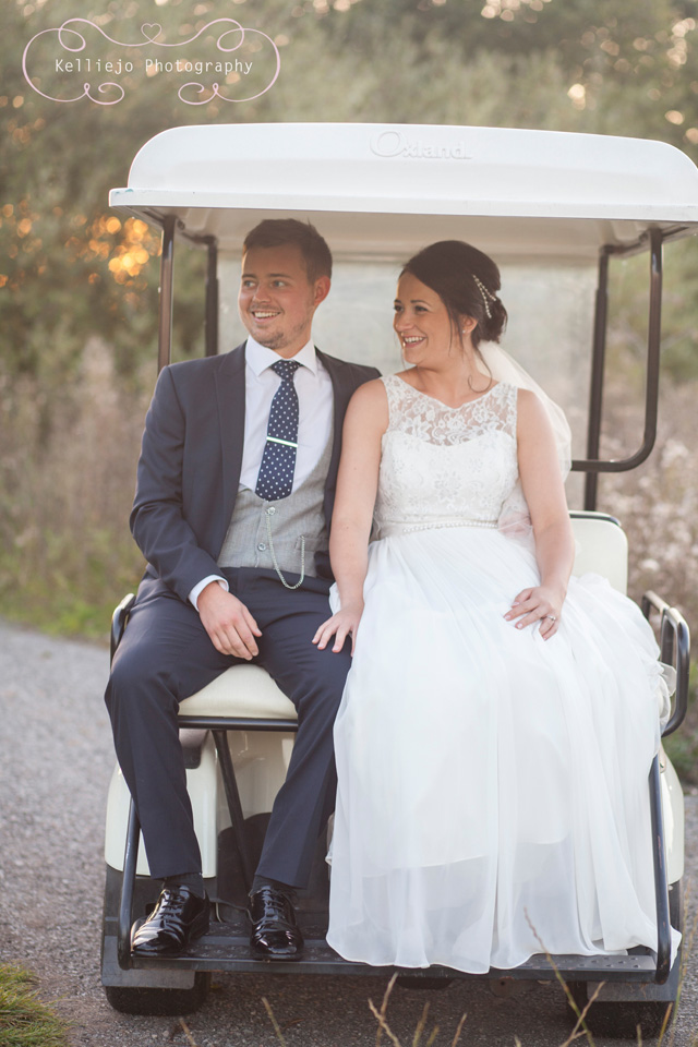 Styal Lodge wedding photography of the bride and groom in a golf buggy.