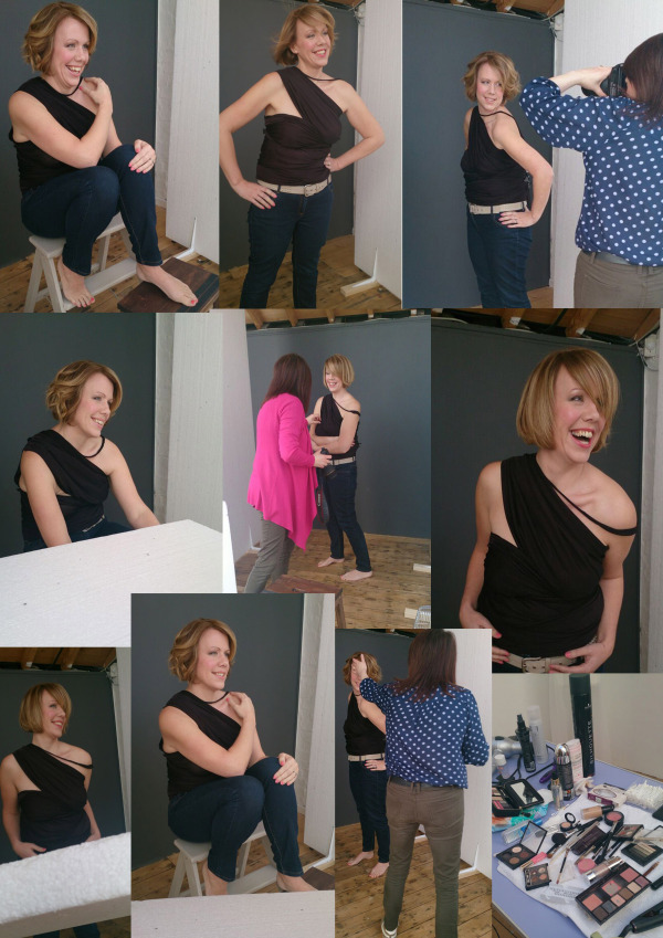 Cheshire modern women's photography of a montage of behind the scenes from a shoot with a woman.